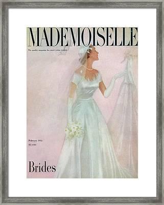 A Bride Wearing A Mindelle Dress Framed Print by  Somoroff