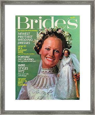 A Bride Wearing A Shel Walker For Portrait Framed Print by Richard Ballarian