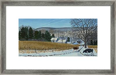 A Bright Blue Winter Day At Bear Meadows Farm Framed Print