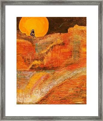 A Brighter Night With Kokopelli On A Marmalade Moon Night Framed Print by Anne-Elizabeth Whiteway