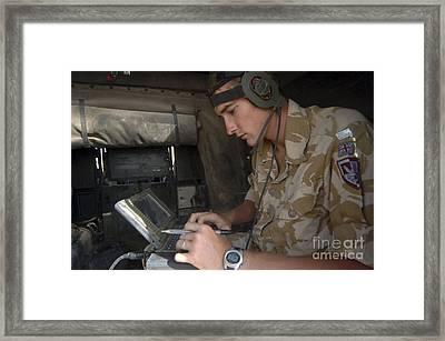 A British Royal Marine Using A Bowman Framed Print