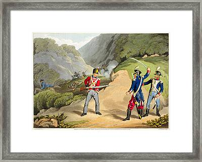 A British Soldier Taking Two French Framed Print by John Augustus Atkinson