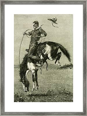 A Bronco Buster Riding A Bucking Horse 1891 Usa Framed Print