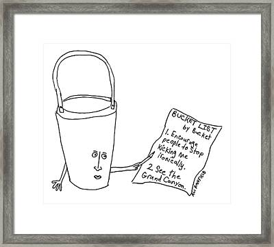 A Bucket With A Face And Arms Holds A List That Framed Print