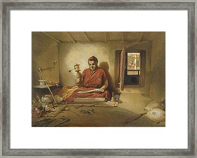 A Buddhist Monk, From India Ancient Framed Print by William 'Crimea' Simpson