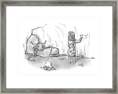 A Buffalo Poses Seductively For A Cave Man Framed Print by Jason Adam Katzenstein