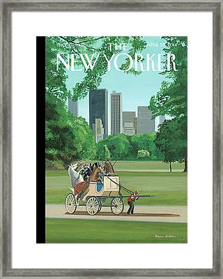 A Buggy Is Pulled By A Man While Horses Ride Framed Print by Bruce McCall