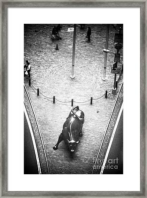 A Bull On Wall Street 1990s Framed Print