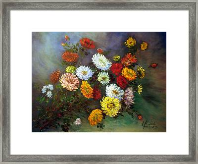 A Bunch Of Flowers Framed Print by Laila Awad Jamaleldin