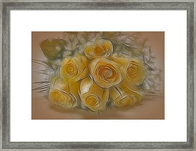 A Bunch Of Yellow Roses Framed Print by Susan Candelario