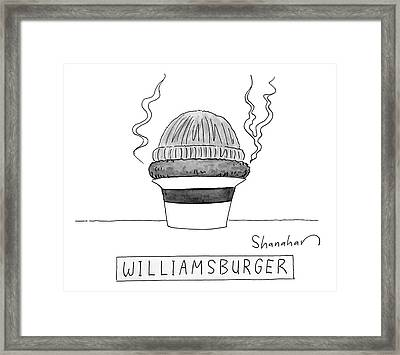 A Burger Is Steaming Between A Beanie Framed Print