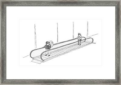 A Burglar Is On A Moving Walkway Holding A Bag Framed Print by Edward Steed
