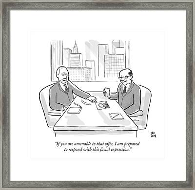 A Business Man Slides A Photo Of Himself Smiling Framed Print by Paul Noth