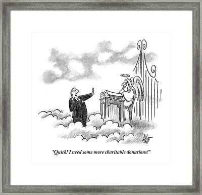 A Business Man Standing In Heaven Framed Print