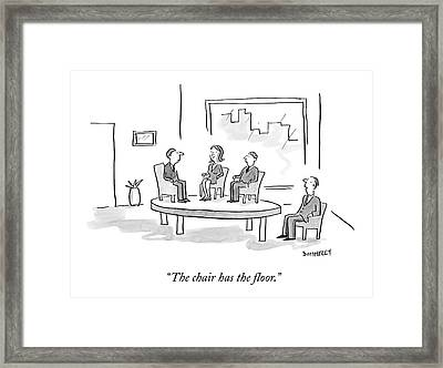 A Businessman In A Chair Looks At Three People Framed Print by Liza Donnelly