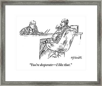 A Businessman Interviewing Another Framed Print by William Hamilton
