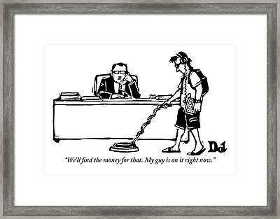 A Businessman Is Speaking On The Phone Framed Print