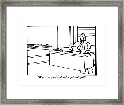 A Businessman Sits At His Desk Talking Framed Print by Bruce Eric Kaplan