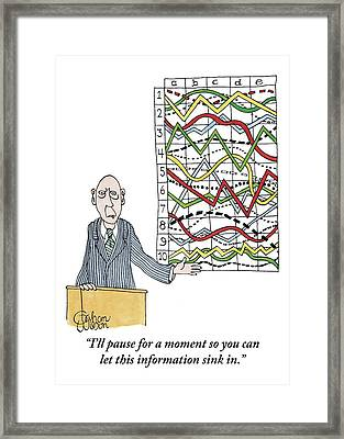 A Businessman Stands Behind A Podium Framed Print