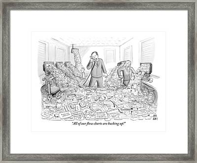A Businessman Talks On The Phone As His Office Framed Print by Paul Noth