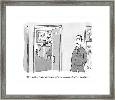 A Businessman With A Headset Walks Past An Open Framed Print by Peter C. Vey