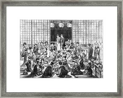 A Bustling Japanese Restaurant  Scene Framed Print by Mary Evans Picture Library