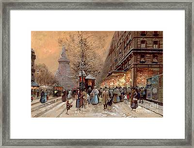 A Busy Boulevard Near The Place De La Republique Paris Framed Print by Eugene Galien-Laloue