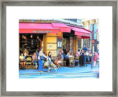 A Busy Corner In Paris Framed Print by Jan Matson