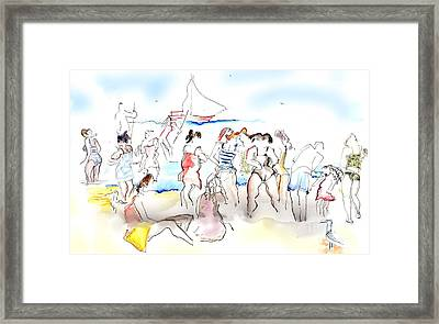 A Busy Day At The Beach Framed Print