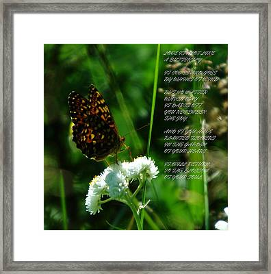 A Butterfly Poem About Love Framed Print by Jeff Swan