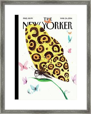 A Butterfly With A Cheetah Pattern Rests Framed Print by Ana Juan
