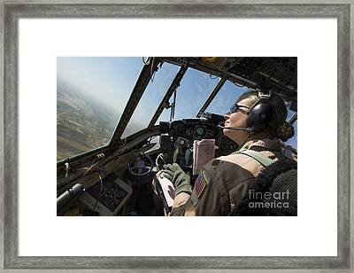 A C-130h Hercules Pilot Looks Framed Print