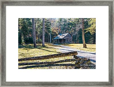A Cabin In Cades Cove Framed Print by Marilyn Carlyle Greiner