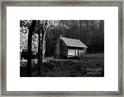 A Cabin In The Woods Bw Framed Print by Mel Steinhauer