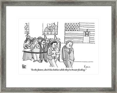 A Campaign Manager Speaks To A Bashful Politician Framed Print