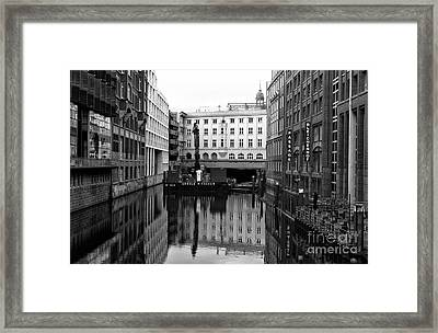A Canal In Hamburg Mono Framed Print
