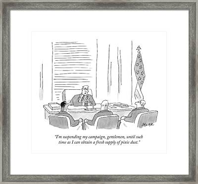 A Candidate Talking To His Advisor Framed Print by Jack Ziegler
