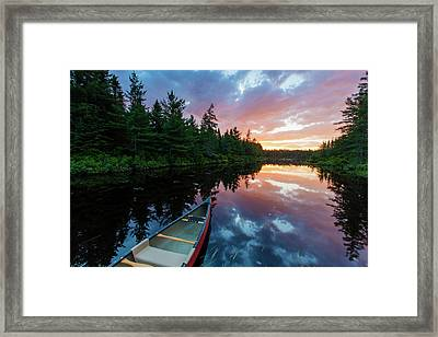 A Canoe At Sunrise On Little Berry Pond Framed Print by Jerry and Marcy Monkman