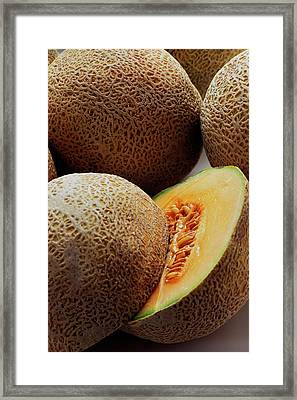 A Cantaloupe Sliced In Half Framed Print by Romulo Yanes