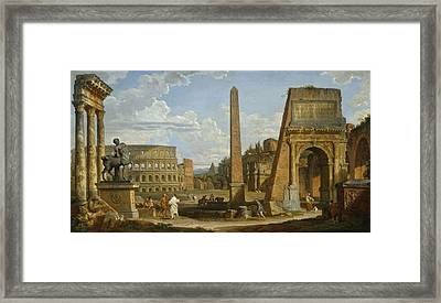 A Capriccio View Of Roman Ruins, 1737 Framed Print by Giovanni Paolo Pannini or Panini