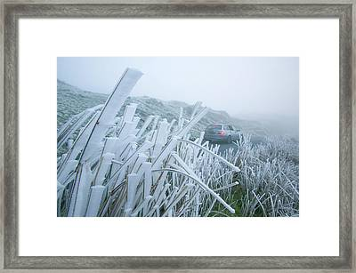 A Car Driving Over Wrynose Pass Framed Print