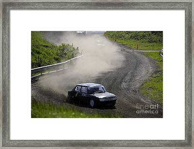 A Car Race On The Gravel Road Framed Print by Ladi  Kirn