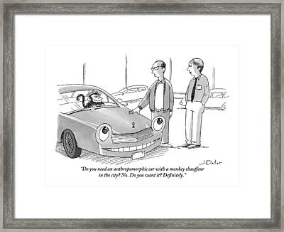 A Car Salesman Gives A Pitch To A Prospective Framed Print