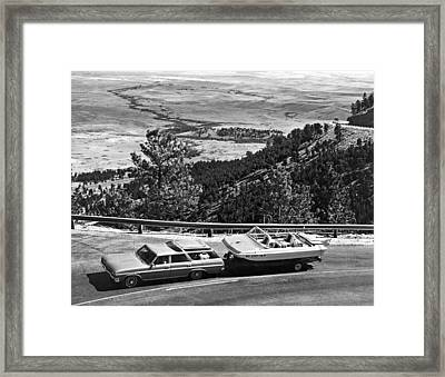 A Car Towing A Power Boat Framed Print