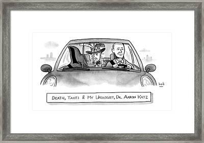 A Car With The Grim Reaper Framed Print by Bob Eckstein
