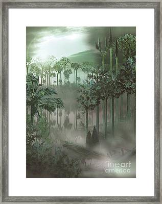 A Carboniferous Forest With Mist Rising Framed Print by Jan Sovak