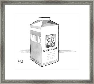 A Carton Of Milk Sits On A Table With A Photo Framed Print by Bob Eckstein