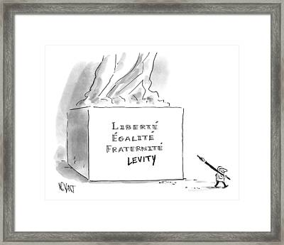 A Cartoonist Stands Draws Levity On A French Framed Print by Christopher Weyant