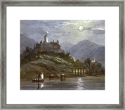 A Castle Sits On The Top Of A  Hill Framed Print by Mary Evans Picture Library