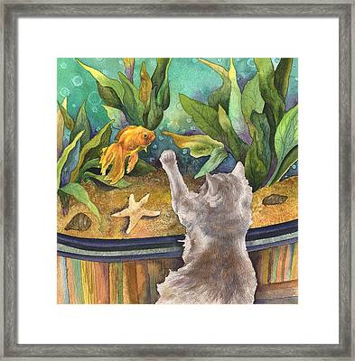 A Cat And A Fish Tank Framed Print